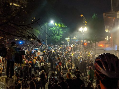 Tear gas from BORTAC and fires at Mark O. Hatfield United States Courthouse during the 2020 George Floyd protests in Portland, Oregon. July 22, 2020.