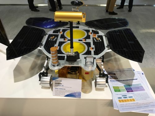 Mockup of the Mars Global Remote Sensing Orbiter and Small Rover at the 69th International Astronautical Congress 2018 at Bremen