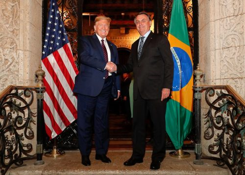 Trump and Bolsonaro at working dinner in Mar-a-Lago, March 7, 2020.