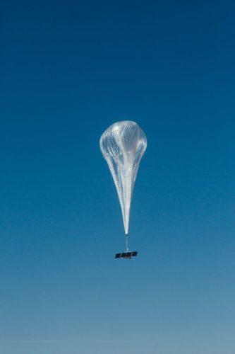A Loon balloon is seen from below.