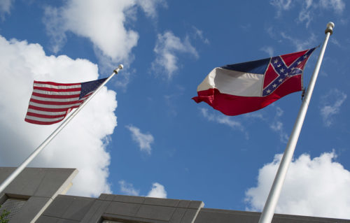The Mississippi state flag (right)