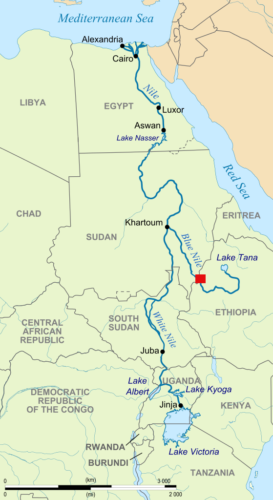 Map of Nile River, showing location of the Grand Ethiopian Renaissance Dam.