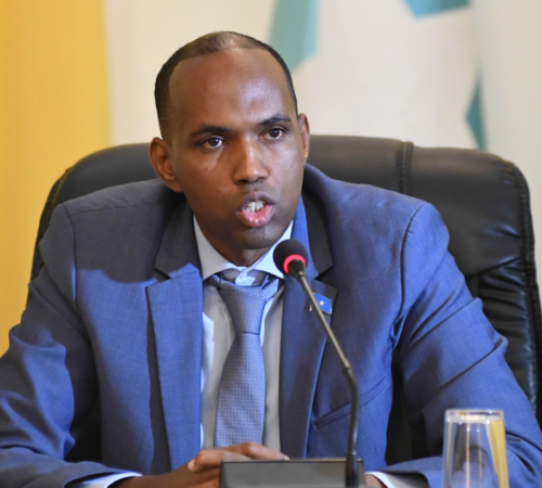 Somalia's Prime Minister, Hassan Ali Kheyre, speaks during a meeting with AU delegation