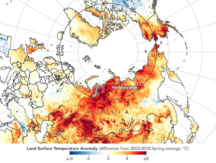 The map shows land surface temperature anomalies from March 19 to June 20, 2020.