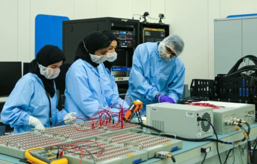 Technicians work on the UAE Hope Mars mission.