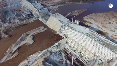 Grand Ethiopian Renaissance Dam, aerial view.