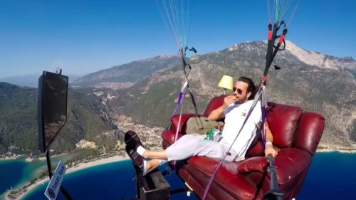 Hasan Kaval on his couch while paragliding.