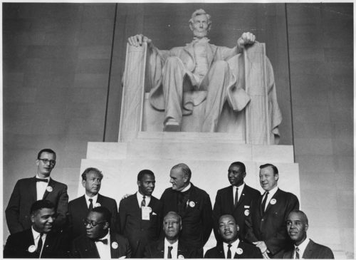 Civil Rights March on Washington, D.C. (Leaders of the march posing in front of the statue of Abraham Lincoln)