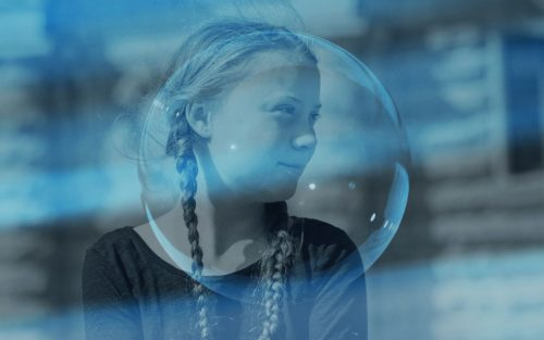 Greta Thunberg seen behind a blue-tinted bubble.