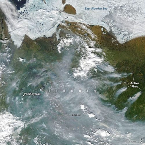 The image shows smoke streaming from several active wildfires in Russia's Sakha region on June 23, 2020.