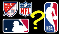 Montage of US sports league logos with question mark.