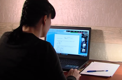 A math distance lesson over a video conference during the COVID-19 pandemic in Russia
