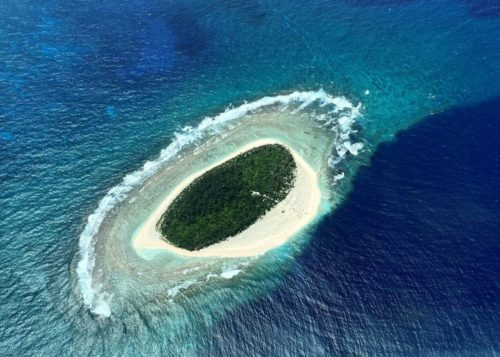 Pikelot atoll in Micronesia, aerial view.