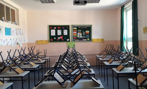 Primary school Djura Jaksic in Kikinda, Serbia - empty classroom in 2020