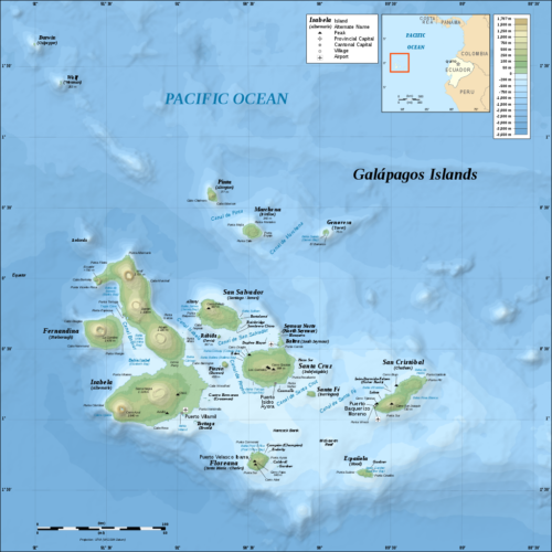 Topographic and bathymetric map of the Galápagos Islands, Ecuador.