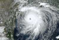Hurricane Laura on August 26, 2020 in Gulf of Mexico.