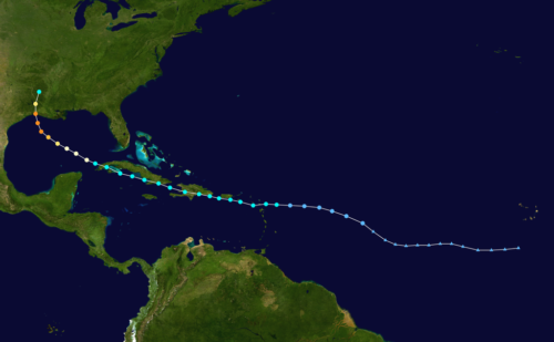 Track map of Hurricane Laura of the 2020 Atlantic hurricane season.