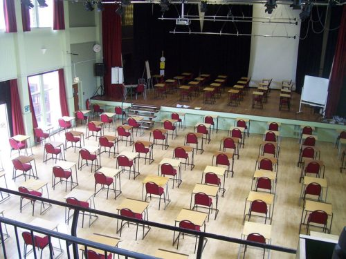 Richard Huish College Exam Hall. Taken during the summer exam period for Richard Huish students who study AS and A-Levels.