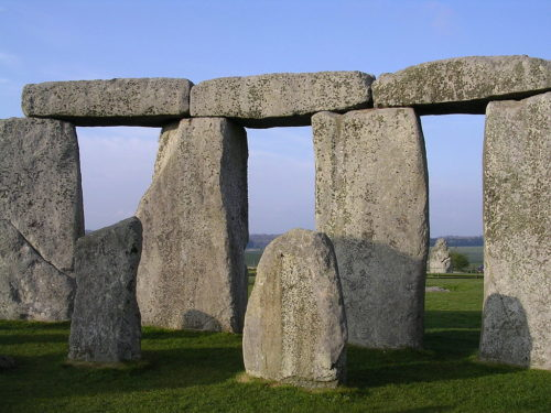 Stonehenge Inside Facing NE April 2005 - Picture taken from within the inner circle towards north-east. Behind the hinged megaliths, the Heel stone can be seen.