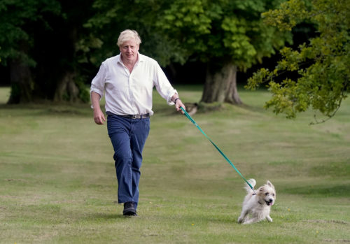 The Prime Minister Boris Johnson takes his dog Dilyn for a walk in the grounds of Chequers as he encourages people to exercise for a better health. Picture by Andrew Parsons / No 10 Downing Street
