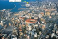 Labeled image of the north of Beirut, showing the source of the explosions.