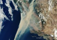 Captured on 19 August 2020, this Copernicus Sentinel-3 image shows the extent of the smoke from fires currently ablaze in California, US.