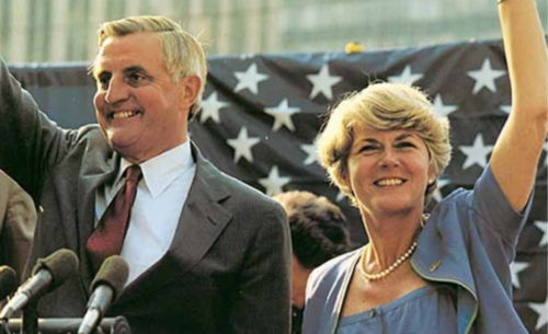 US. presidential candidate Walter Mondale and vice-presidential candidate Geraldine Ferraro photographed while campaigning at political rally at Fort Lauderdale, Florida. US LOC, April 27, 1984.