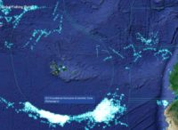 Map showing location of Chinese fishing fleet outside of Ecuadorian waters.