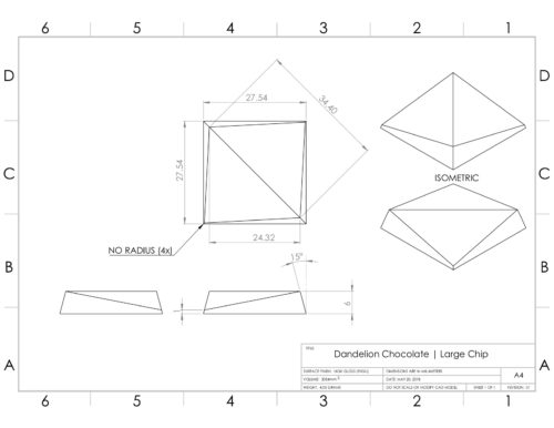 Design drawings for chocolate chips designed by Remy Labesque for Dandelion Chocolate.