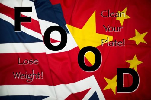 Union Jack and Chinese Flags together, with the word FOOD superimposed.