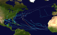 This map shows the tracks of all tropical cyclones in the 2020 Atlantic hurricane season.