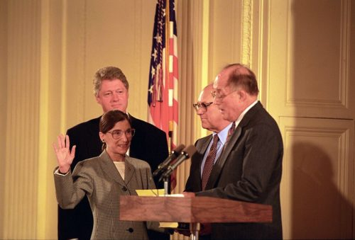 Chief Justice William Rehnquist Administers the Oath of Office to Judge Ruth Bader Ginsburg as Associate Supreme Court Justice at the White House