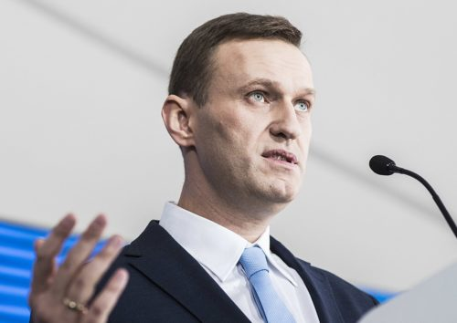 Alexei Navalny speaks to his supporters in Moscow after they initiated his longshot attempt to be in the ballot on the upcoming presidential elections.