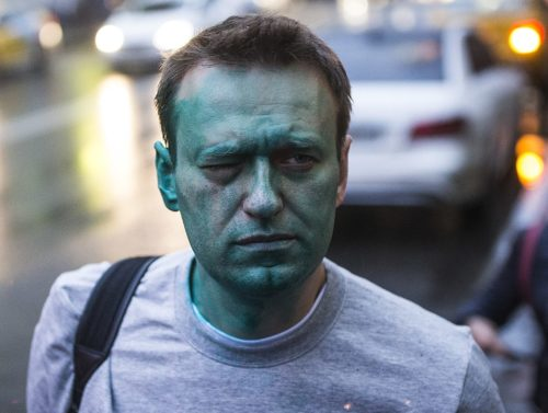 Alexei Navalny, Russian opposition leader, is pictured on a street after zelenka attack in Moscow.