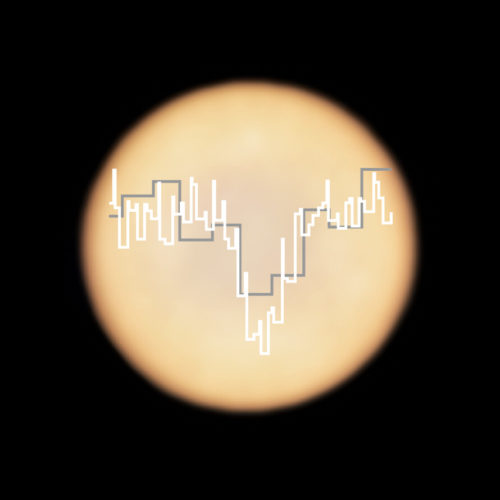 ALMA image of Venus, superimposed with spectra of phosphine observed with ALMA (in white) and JCMT (in grey).