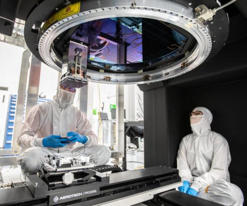 Vera C. Rubin Observatory LSST Camera Focal Plane Build 137 Installing RTM 21 of 21 to complete the 3.2GP array of CCDs.