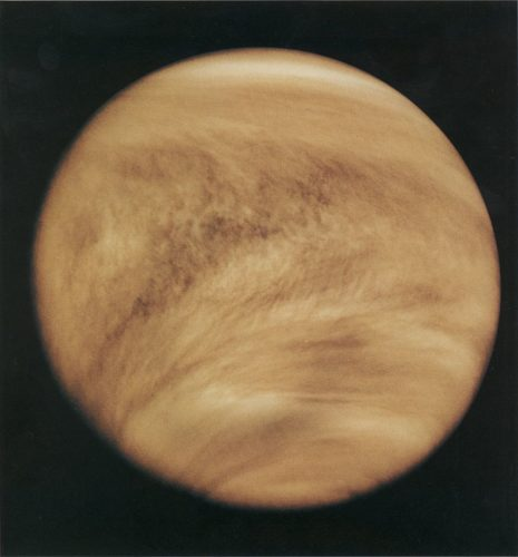 Ultraviolet image of Venus' clouds as seen by the Pioneer Venus Orbiter (February 26, 1979).