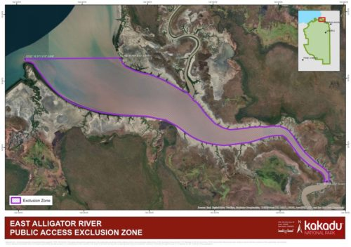 Map showing protected zone of East Alligator River.