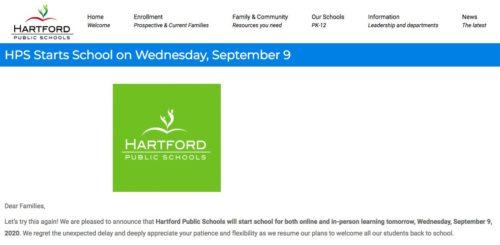 Hartford Public Schools announces delayed opening.