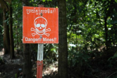 Landmine warning sign, Cambodia.