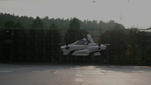 A pilot takes SkyDrive's SD-03 for a test flight.