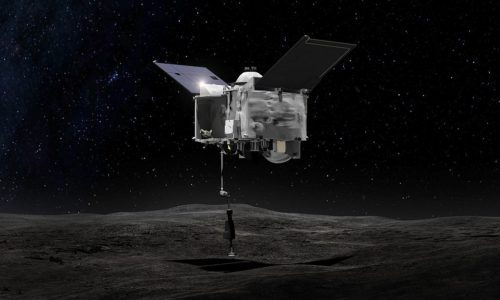 This artist's concept shows the Origins Spectral Interpretation Resource Identification Security - Regolith Explorer (OSIRIS-REx) spacecraft contacting the asteroid Bennu with the Touch-And-Go Sample Arm Mechanism or TAGSAM.