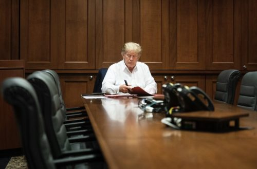 U.S. President Donald J. Trump at the Walter Reed National Military Medical Center following his COVID-19 diagnosis on October 3, 2020.
