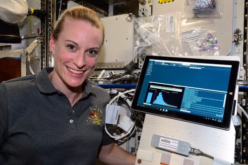 For the first time ever, DNA was sequenced in space as part of the Biomolecule Sequencer investigation on the International Space Station. The sequencing device used is called MinION, and sequencing was performed by ISS astronaut Kathleen (Kate) Rubins.