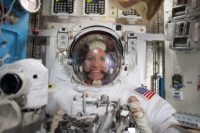 ISS-48 Kate Rubins during spacesuit check for EVA-1