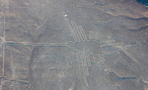 "Aerial view of ""The Hummingbird"", one of the most popular geoglyphs of the Nazca Lines, which are located in the Nazca Desert in southern Peru."