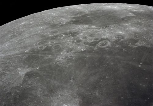 View of the moon, photographed during the Apollo 16 mission's trans-Earth coast.
