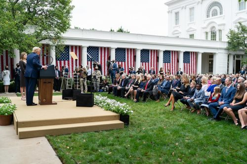 President Donald J. Trump announces Judge Amy Coney Barrett as his nominee for Associate Justice of the Supreme Court of the United States Saturday, Sept. 26, 2020, in the Rose Garden of the White House. (Official White House Photo by Andrea Hanks)