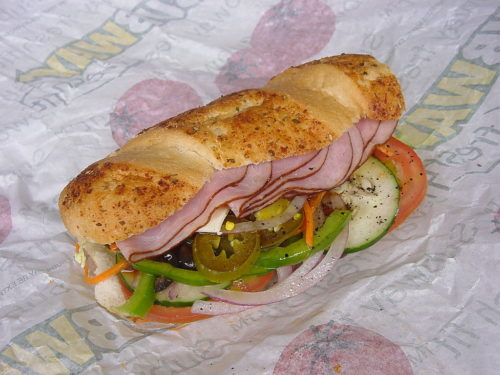 12-inch ham Submarine sandwich with double meat by Subway