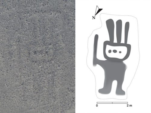 Image of a geoglyph spotted by IBM's Watson analyzing satellite photos. It's a human figure about 16 feet (5 meters) tall.